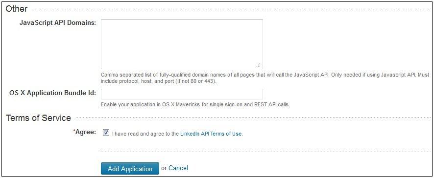 Creating a LinkedIn Application